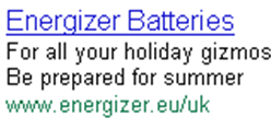 Energizer Batteries Festivals Adwords ad