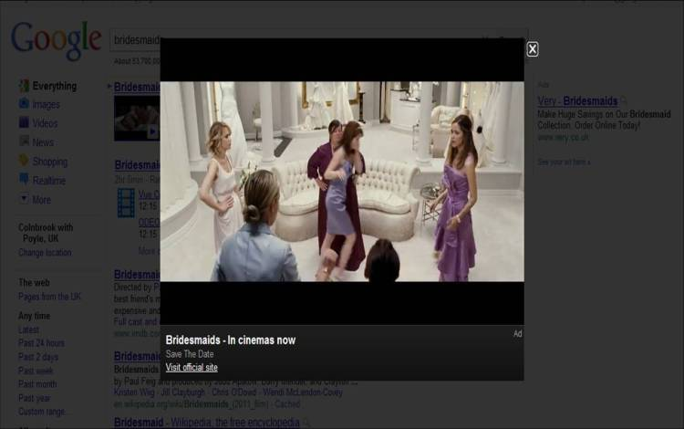Adwords Media Ad for Bridesmaids
